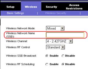 SSID rete wifi
