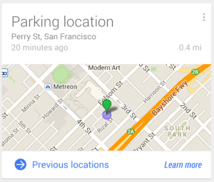 google now parking location