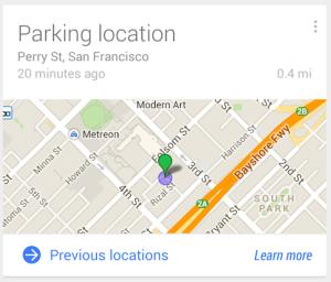 google now parking location