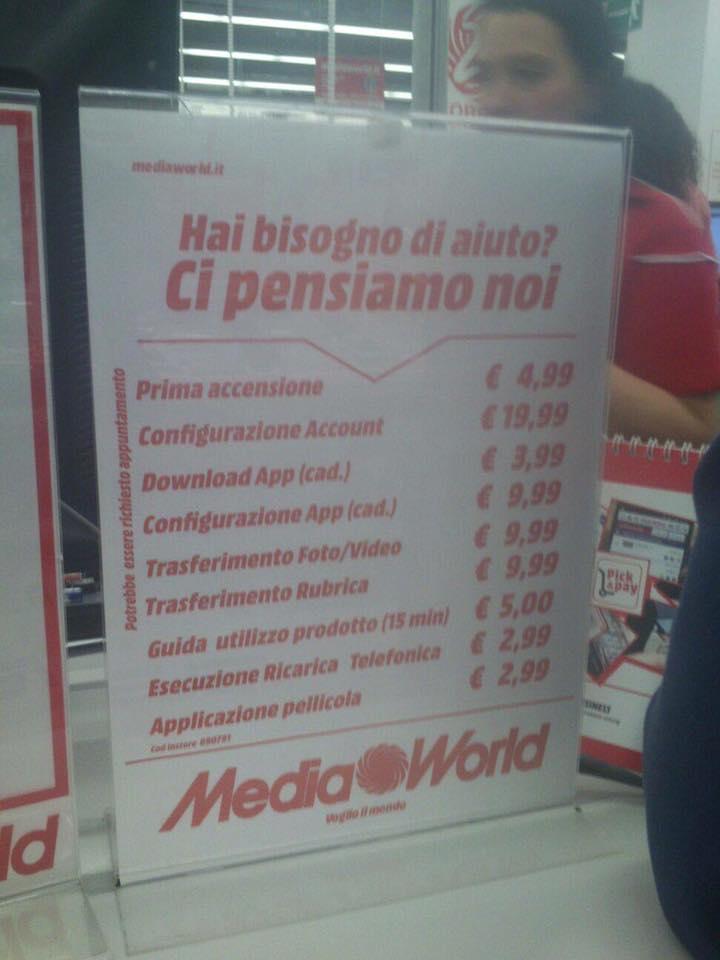 Mediaworld prezzi servizi smartphone