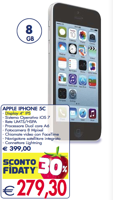 iPhone 5C 8GB prezzo a meno di 280 euro nel volantino ...