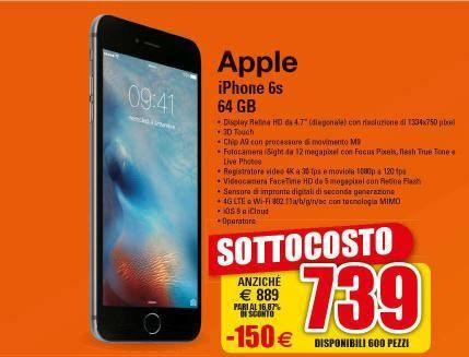iPhone 6S sottocosto