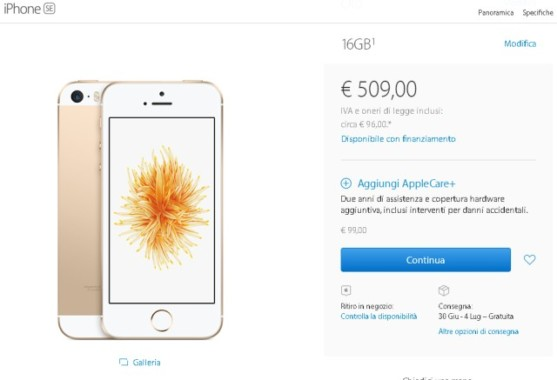 iPhone SE vendite