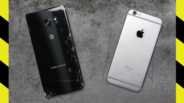 Galaxy Note 7 vs iPhone 6s drop test