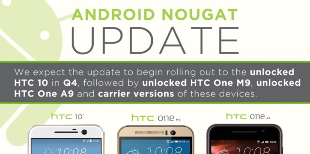 Htc 10, Htc One M9 e One A9 Android Nougat