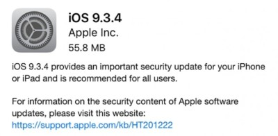 iOS 9.3.4 nuova patch