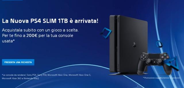 Playstation PS4 Slim rimborso Sony fino a 200 euro se permuti la vecchia console!