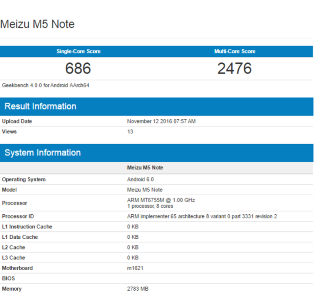 Meizu M5 Note sbarca su Geekbench: le caratteristiche svelate