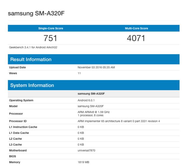 Samsung Galaxy A3 prezzo (2017) e scheda su Geekbench!