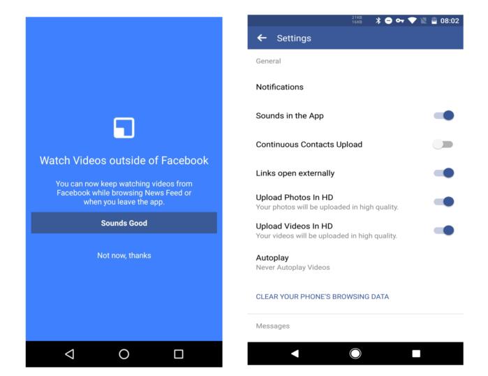 Facebook aggiornamento App