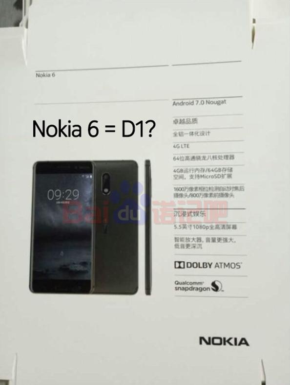 Nokia 6 (D1C): immagine e specifiche svelate?