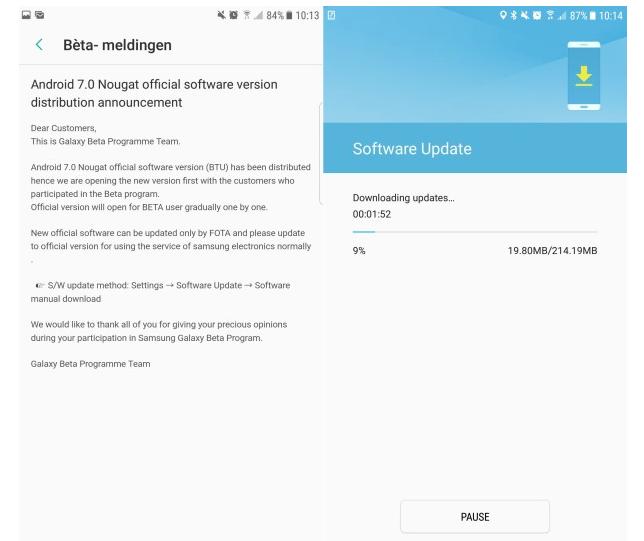 Galaxy S7 e S7 Edge: partito l'aggiornamento ad Android 7.0 Nougat