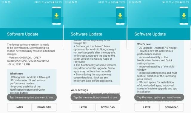 Android 7.0 Nougat per Galaxy S7 e S7 edge disponibile (download)