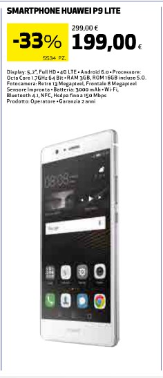 Huawei P9 Lite torna il sottocosto: prezzo 199 euro nei volantini