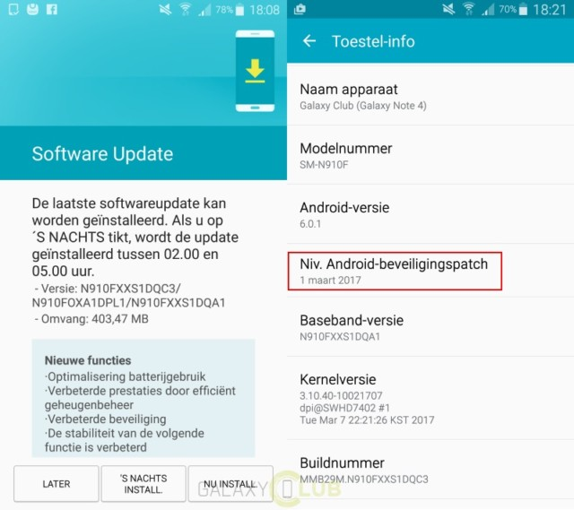 Galaxy Note 4 aggiornamento marzo 2017