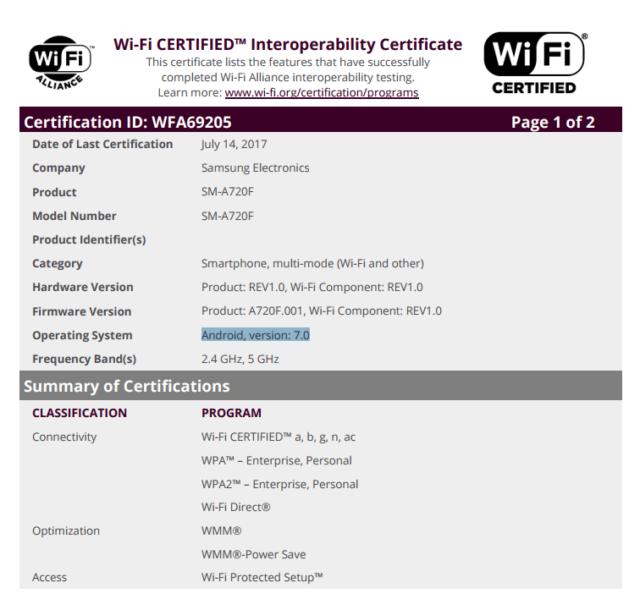 Galaxy A5 e A7 (2017): l'aggiornamento a Nougat compare nelle certificazioni WiFi
