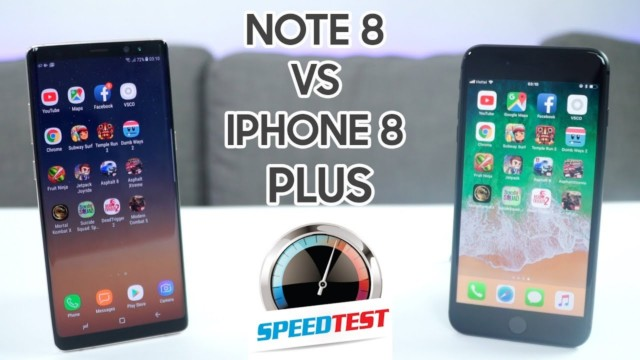 Galaxy Note 8 vs iPhone 8 Plus lo speed test con tante applicazioni comuni