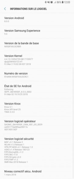 Note 8 android Oreo francia