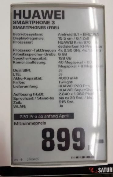 Huawei P20 Pro prezzo e specifiche