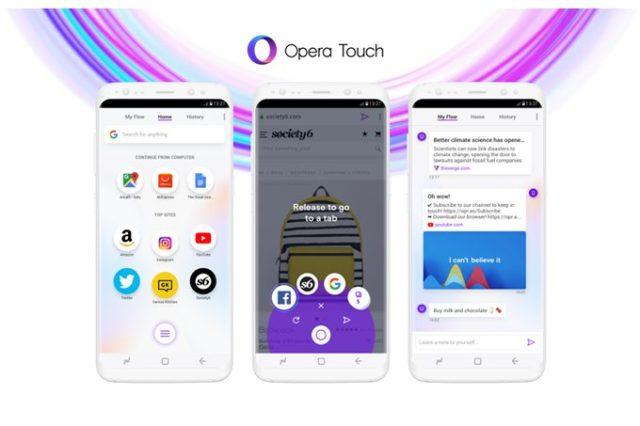 Opera Touch per Android è il nuovo browser mobile; in arrivo anche per Apple iOS