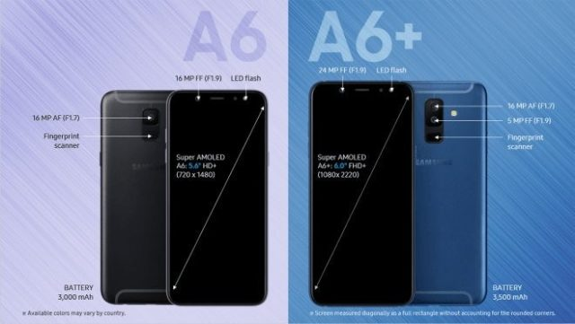 Galaxy A6 e A6 Plus prezzo e caratteristiche