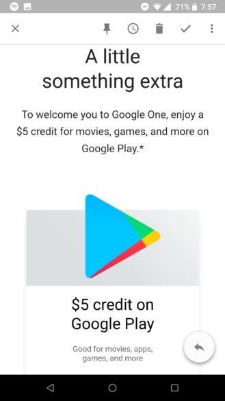 5 gratis per google play a chi si registra su google one for Costo aggiuntivo per suite suocera