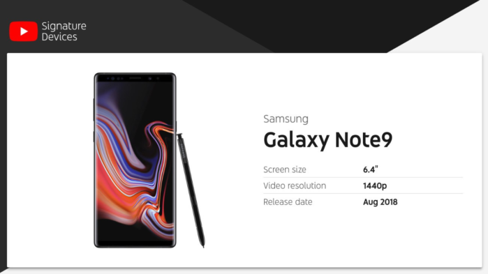 Galaxy Note 9 prima in classifica per YouTube
