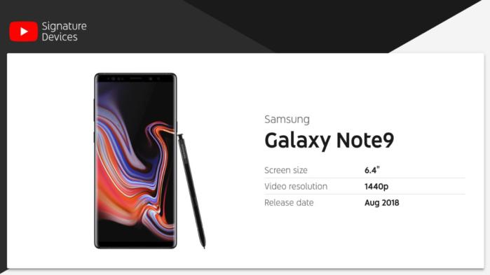 Galaxy Note 9 prima in classifica per YouTube