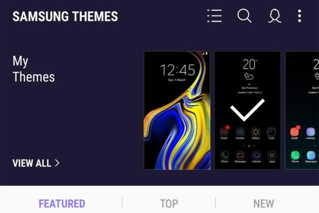 Samsung Theme con Android Pie 9.0 cambiano le regole