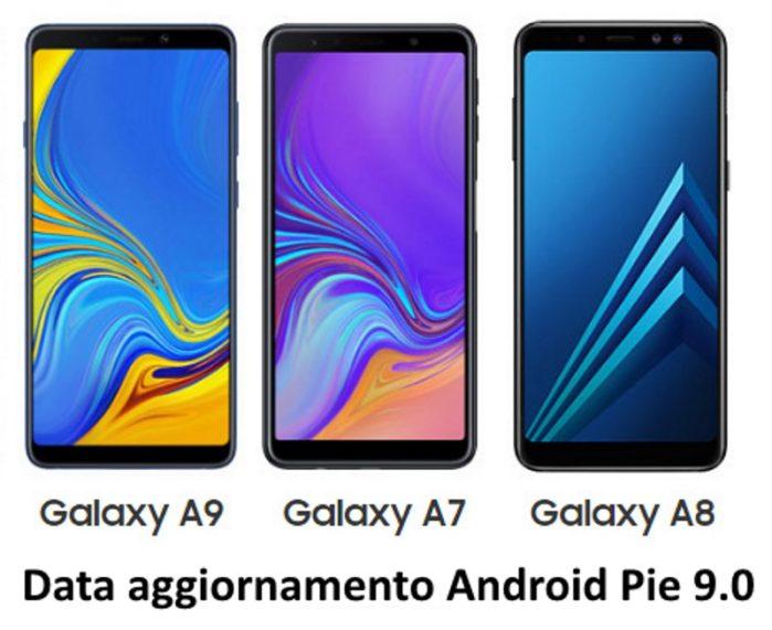 Galaxy A8 2018, Galaxy A9 2018 e Galaxy A7 2018 Android Pie