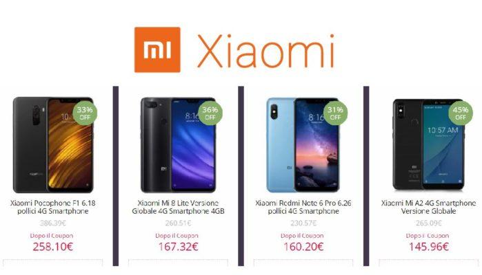 Xiaomi PocoPhone F1, Mi 8 Lite, Mi A2, Redmi Note 6 Pro Coupon fine marzo 2019