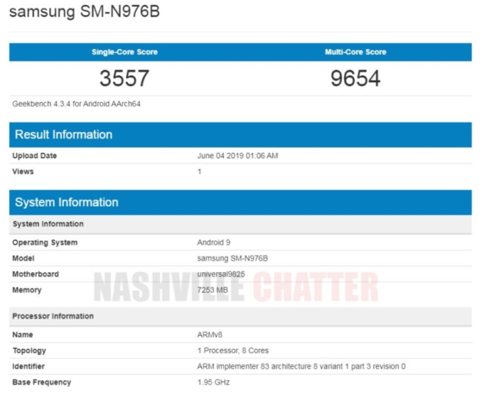Galaxy Note 10e Geekbench