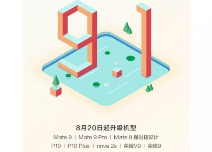 Huawei P10, P10 Plus, Mate 9, Honor 9 ecco la EMUI 9.1 (in Cina)