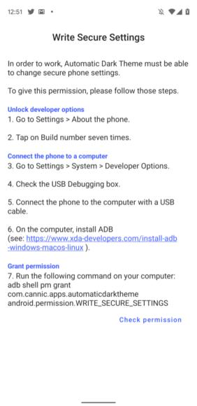 programmare il tema scuro su Android