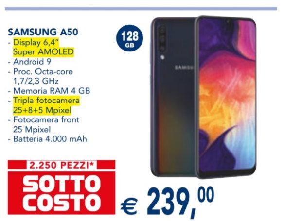 Samsung Galaxy A50 sottocosto Esselunga novembre 2019