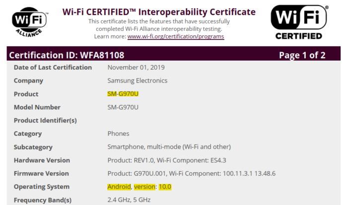 Certificazione Wifi Alliance Android 10 Galaxy S10