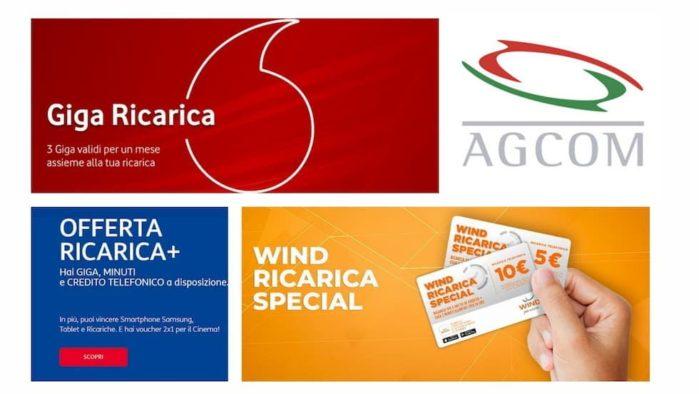 Ricariche Speciali di Wind, TIM e Vodafone diffidate dall'Agcom