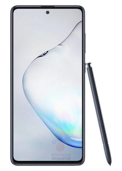 Galaxy Note 10 Lite frontale nero con S Pen