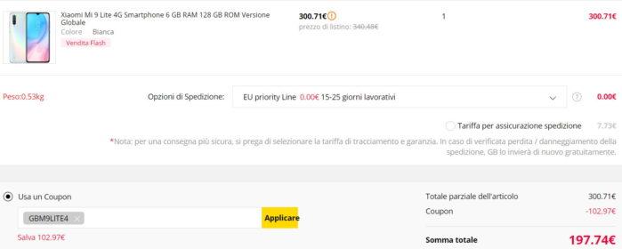 Xiaomi Mi 9 Lite minimo storico 198 euro prezzo