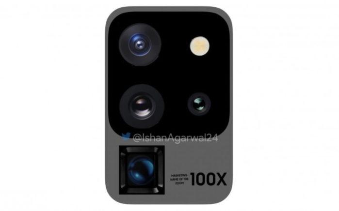 Camera posteriore Galaxy S20 Ultra in render 3D