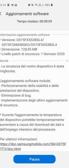 Galaxy S10 Plus patch gennaio 2020 aggiornamento Italia