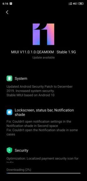 Xiaom MI 8 Android 10 MIUI 11 stabile