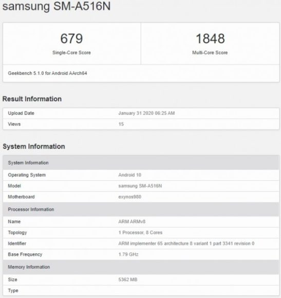 Galaxy A51 5G GeekBench