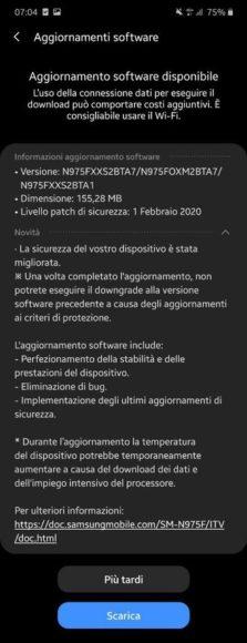 Galaxy Note 10 Plus febbraio 2020