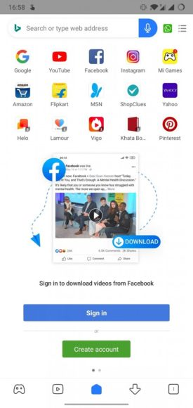 Nuovo Xiaomi Mi Browser feed facebook