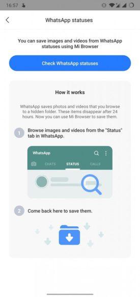 Nuovo Xiaomi Mi Browser salva stato whatsapp
