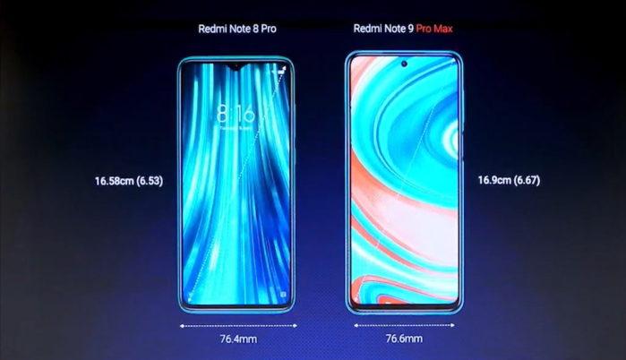 Redmi Note 9 Pro Max vs Redmi Note 8 Pro dimensioni
