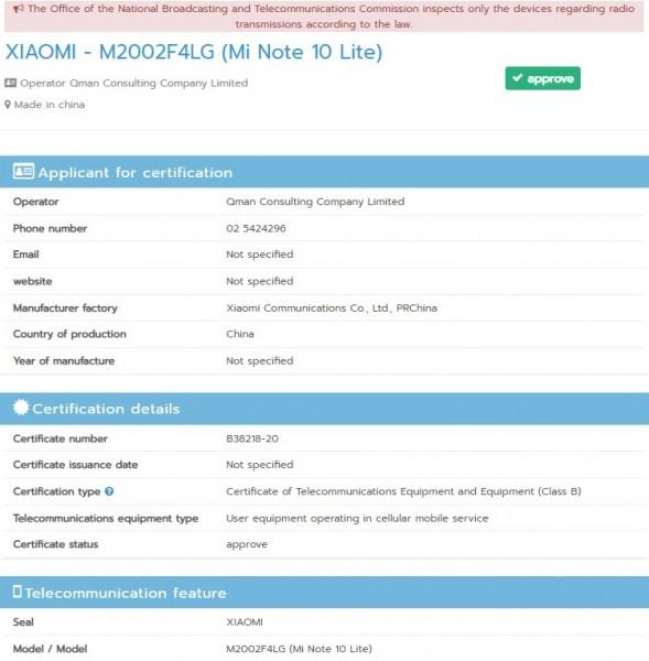 Certificazione NBTC Mi Note 10 Lite
