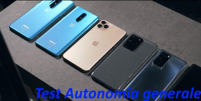 Test autonomia generale OnePus 8, 8 Pro, Galaxy S20 Utra, Huawei P40 Pro, iPhone 11 PRO max