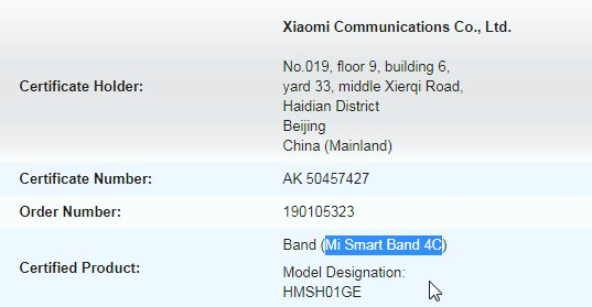 Xiaomi Mi Band 4C versione internazionale di Redmi Band